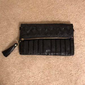 Folder Over Black Clutch with Tassel Zipper